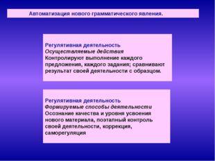 Автоматизация нового грамматического явления. Регулятивная деятельность Осущ