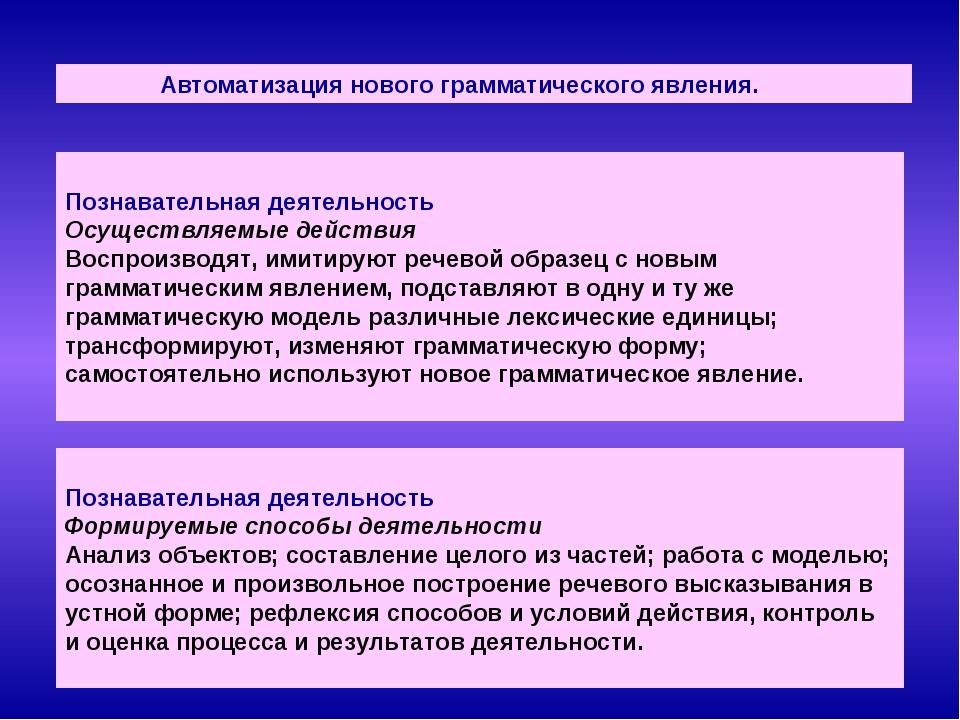 Автоматизация нового грамматического явления. Познавательная деятельность Ос...