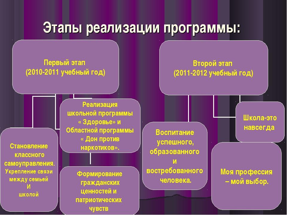 Этапы реализации программы: