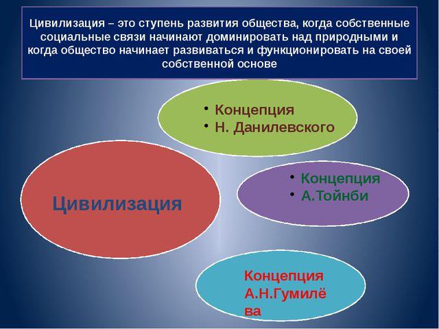 Цивилизация – это ступень развития общества, когда собственные социальные свя...