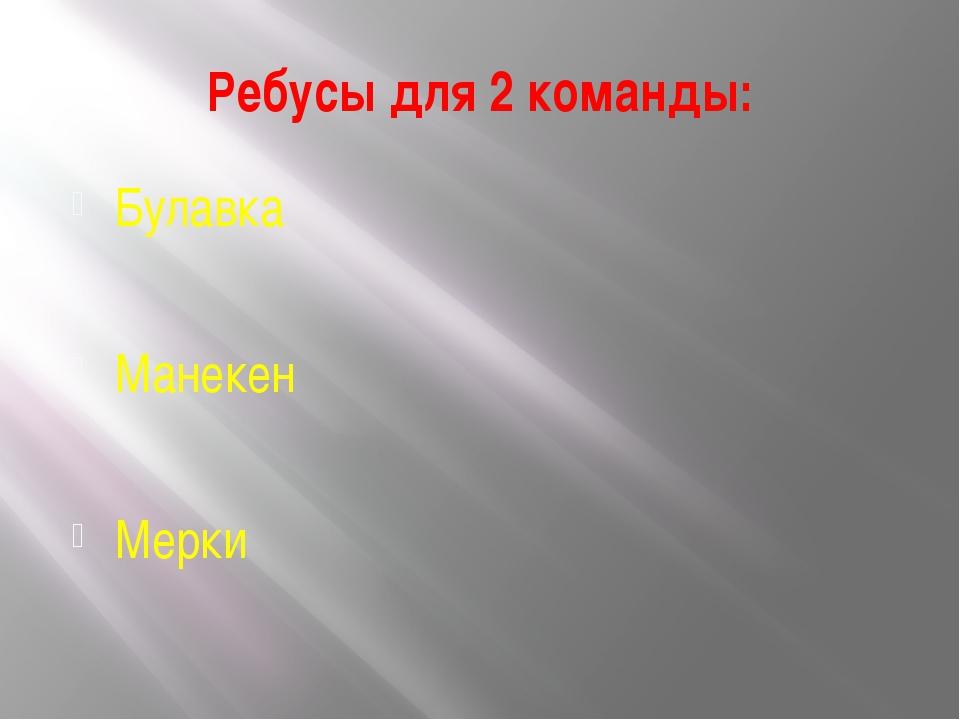 Ребусы для 2 команды: Булавка Манекен Мерки
