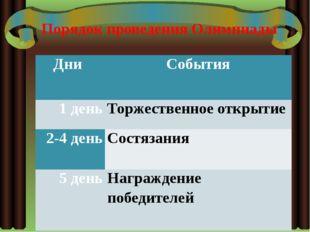 Порядок проведения Олимпиады Дни События 1 день Торжественное открытие 2-4