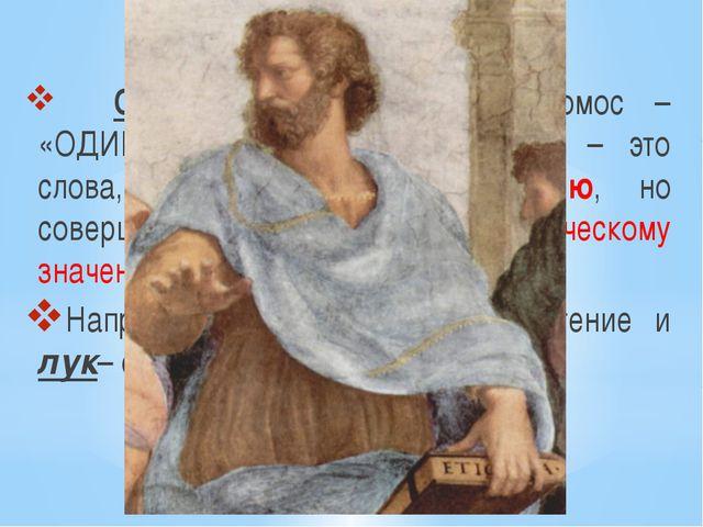 Омонимы – это… Омонимы (от древнегереч.:хомос – «ОДИНАКОВЫЙ», онима – «имя»)...