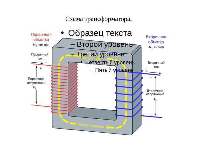 Схема трансформатора.