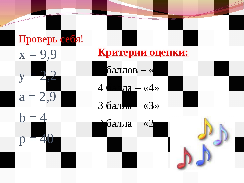 Проверь себя! х = 9,9 у = 2,2 а = 2,9 b = 4 p = 40 Критерии оценки: 5 баллов...