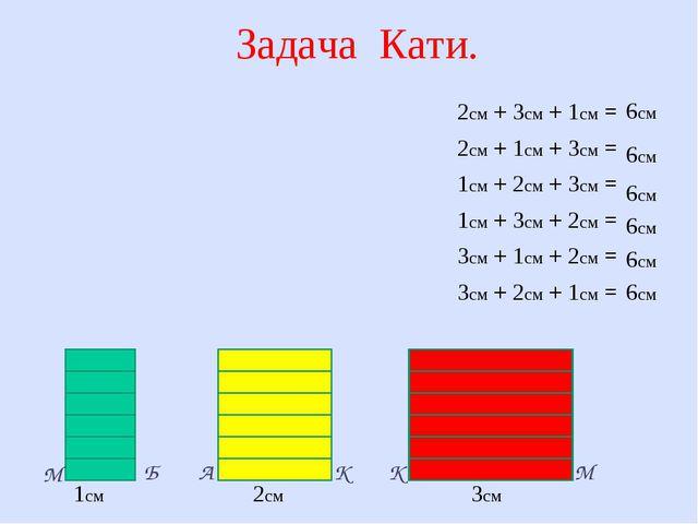 Задача Кати. 1см 2см 3см К К М М А Б 2см + 3см + 1см = 2см + 1см + 3см = 1см...
