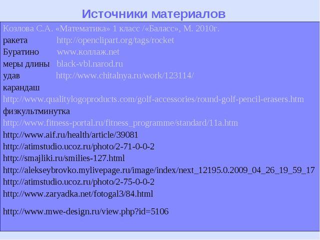 Источники материалов Козлова С.А. «Математика» 1 класс /«Баласс», М. 2010г. р...