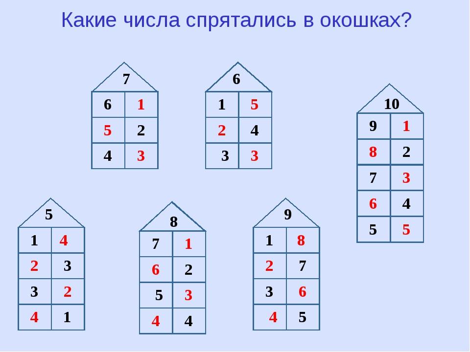 Какие числа спрятались в окошках? 8 5 8 6 7 9 10 1 1 1 1 2 2 2 3 3 3 3 4 4 4...