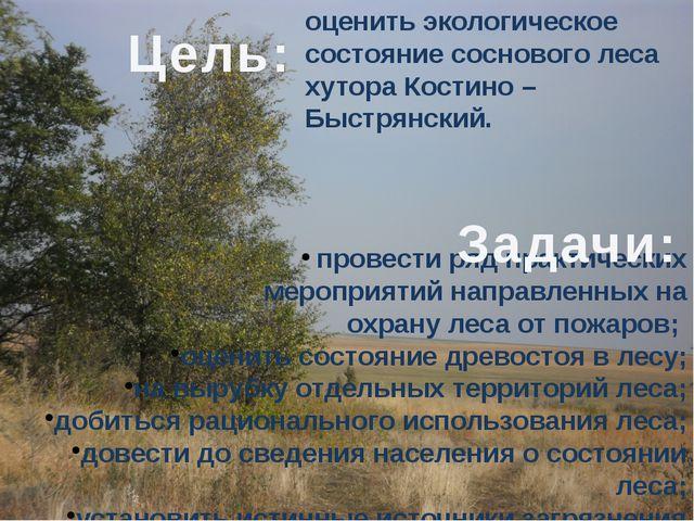оценить экологическое состояние соснового леса хутора Костино – Быстрянский....