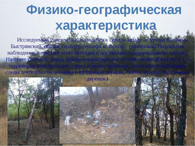 Физико-географическая характеристика Исследуемый участок леса находится к сев...