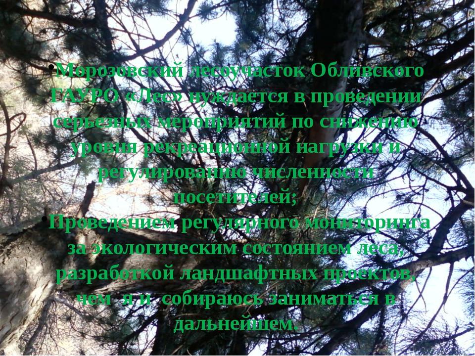 Морозовский лесоучасток Обливского ГАУРО «Лес» нуждается в проведении серьезн...