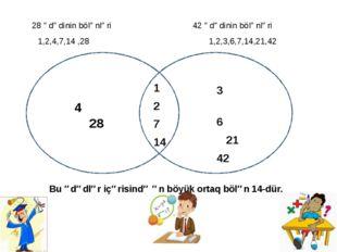 28 ədədinin bölənləri 42 ədədinin bölənləri 1,2,4,7,14 ,28 1,2,3,6,7,14,21,4