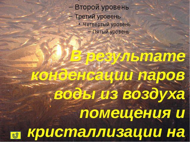 В результате конденсации паров воды из воздуха помещения и кристаллизации на...