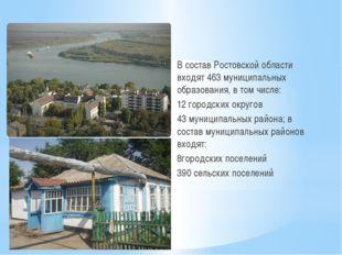 В состав Ростовской области входят 463 муниципальных образования, в том числ