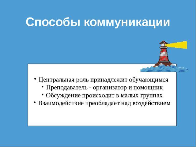 Способы коммуникации Центральная роль принадлежит обучающимся Преподаватель -...