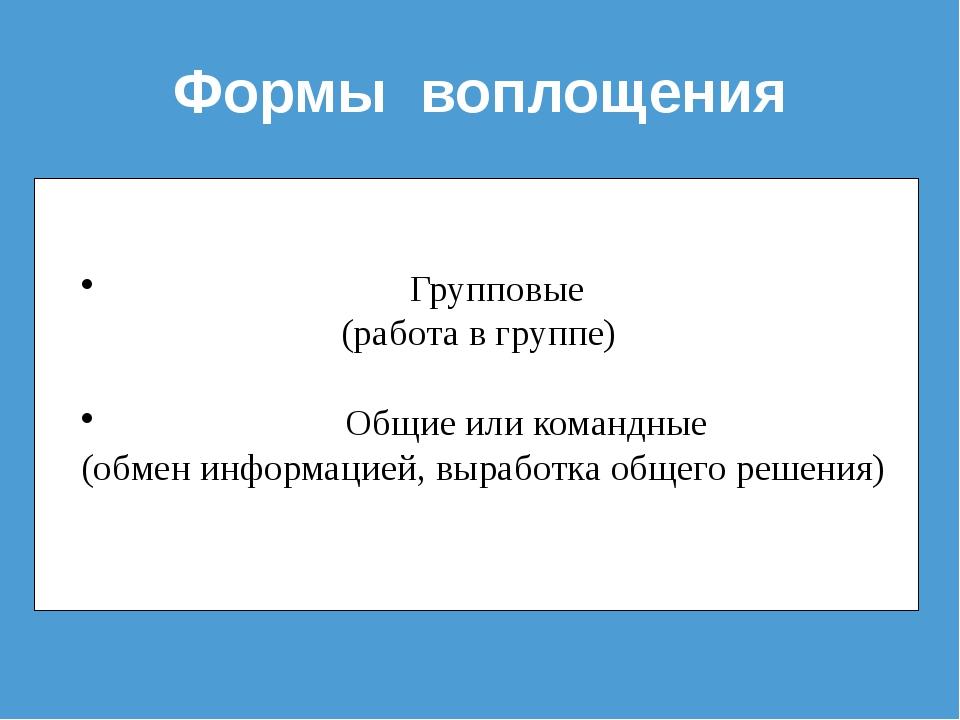 Формы воплощения Групповые (работа в группе) Общие или командные (обмен инфор...