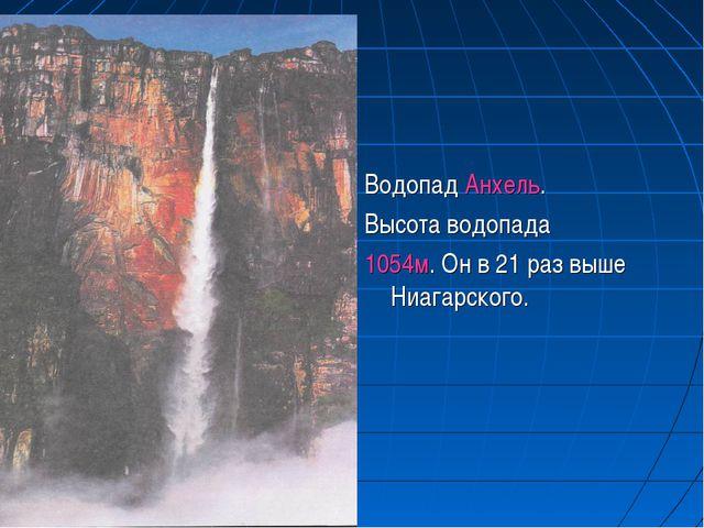Водопад Анхель. Высота водопада 1054м. Он в 21 раз выше Ниагарского.