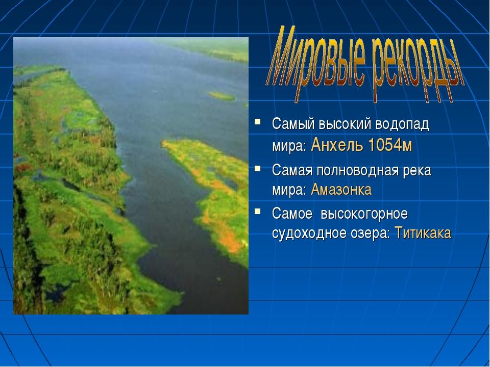 Самый высокий водопад мира: Анхель 1054м Самая полноводная река мира: Амазон...
