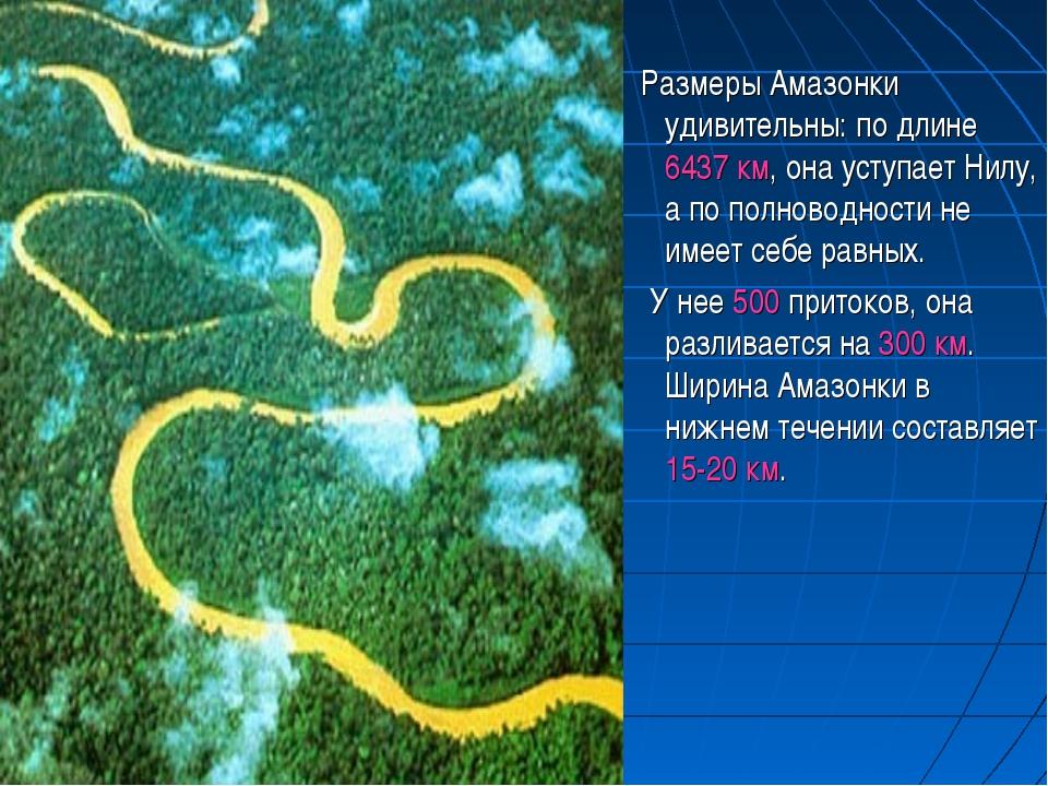 Размеры Амазонки удивительны: по длине 6437 км, она уступает Нилу, а по полн...