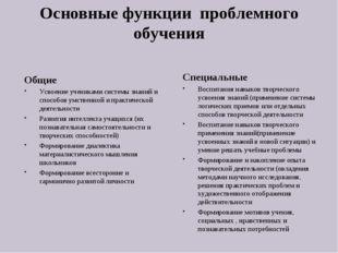 Основные функции проблемного обучения Общие Усвоение учениками системы знаний