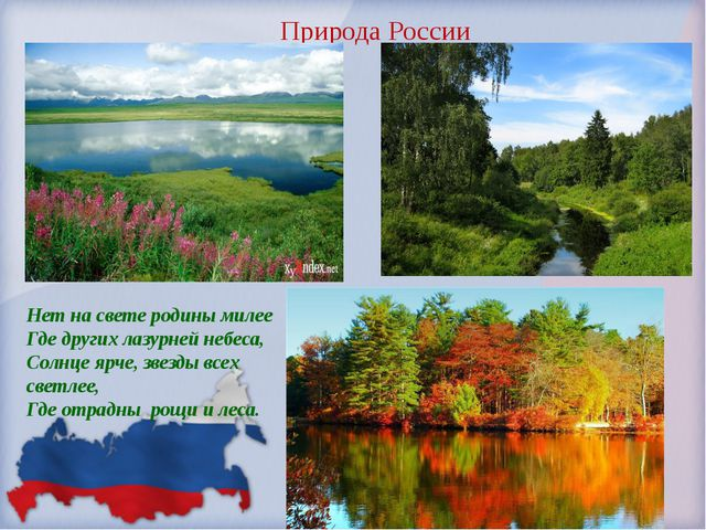 Природа России Нет на свете родины милее Где других лазурней небеса, Солнце...