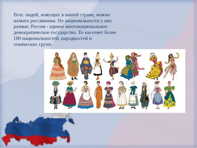 Всех людей, живущих в нашей стране, можно назвать россиянами. Но национально...