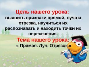 1 Страна родственных слов Цель нашего урока: выявить признаки прямой, луча и