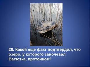 28. Какой еще факт подтвердил, что озеро, у которого заночевал Васютка, прото