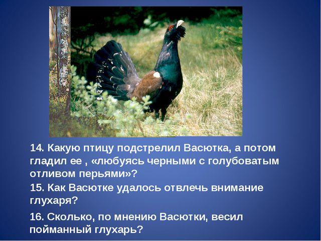 14. Какую птицу подстрелил Васютка, а потом гладил ее , «любуясь черными с го...