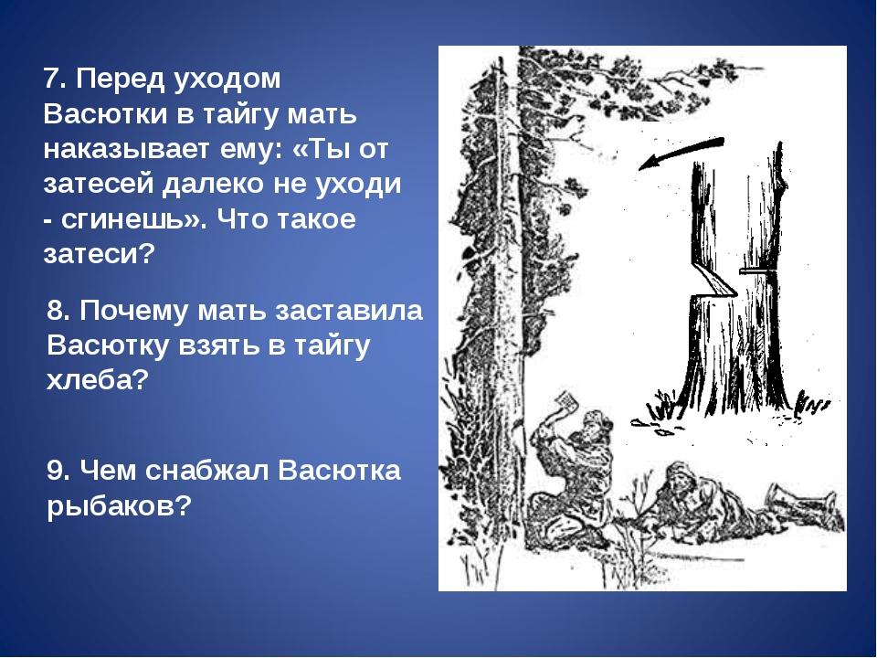 7. Перед уходом Васютки в тайгу мать наказывает ему: «Ты от затесей далеко н...