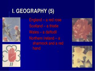 I. GEOGRAPHY (5) England – a red rose Scotland – a thistle Wales – a daffodil