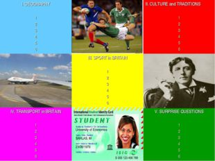 I. GEOGRAPHY 1 2 3 4 5 6		II. CULTURE and TRADITIONS 1 2 3 4 5 6 	III. SPORT
