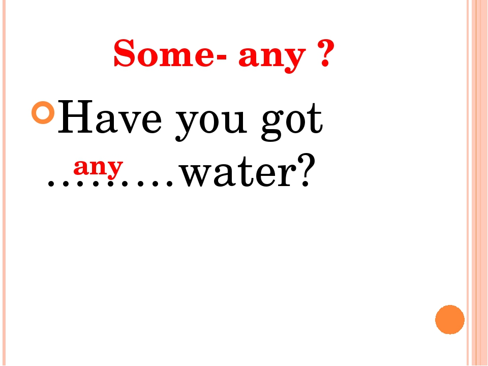 Some- any ? Have you got ………water? any
