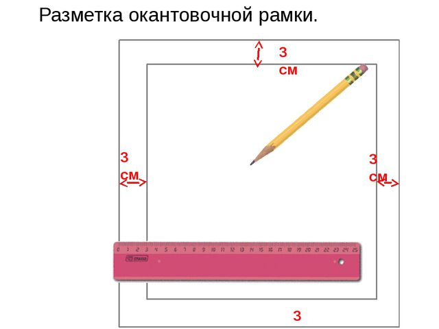 3 см 3 см 3 см 3 см Разметка окантовочной рамки.