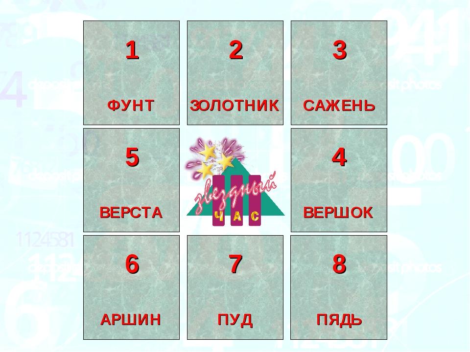 1 ФУНТ 2 ЗОЛОТНИК 3 САЖЕНЬ 4 ВЕРШОК 5 ВЕРСТА 6 АРШИН 7 ПУД 8 ПЯДЬ
