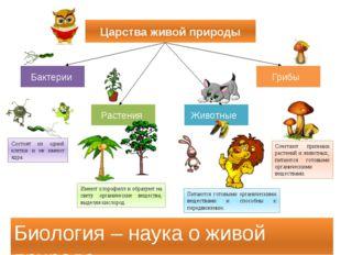 Царства живой природы Бактерии Грибы Растения Животные Биология – наука о жив