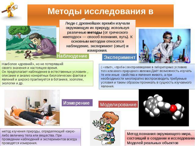 Методы исследования в биологии Наблюдение Эксперимент Измерение Метод познани...