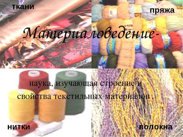 к ткани пряжа нитки волокна наука, изучающая строение и свойства текстильных...