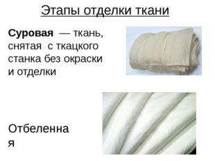 Этапы отделки ткани Отбеленная Суровая — ткань, снятая с ткацкого станка без