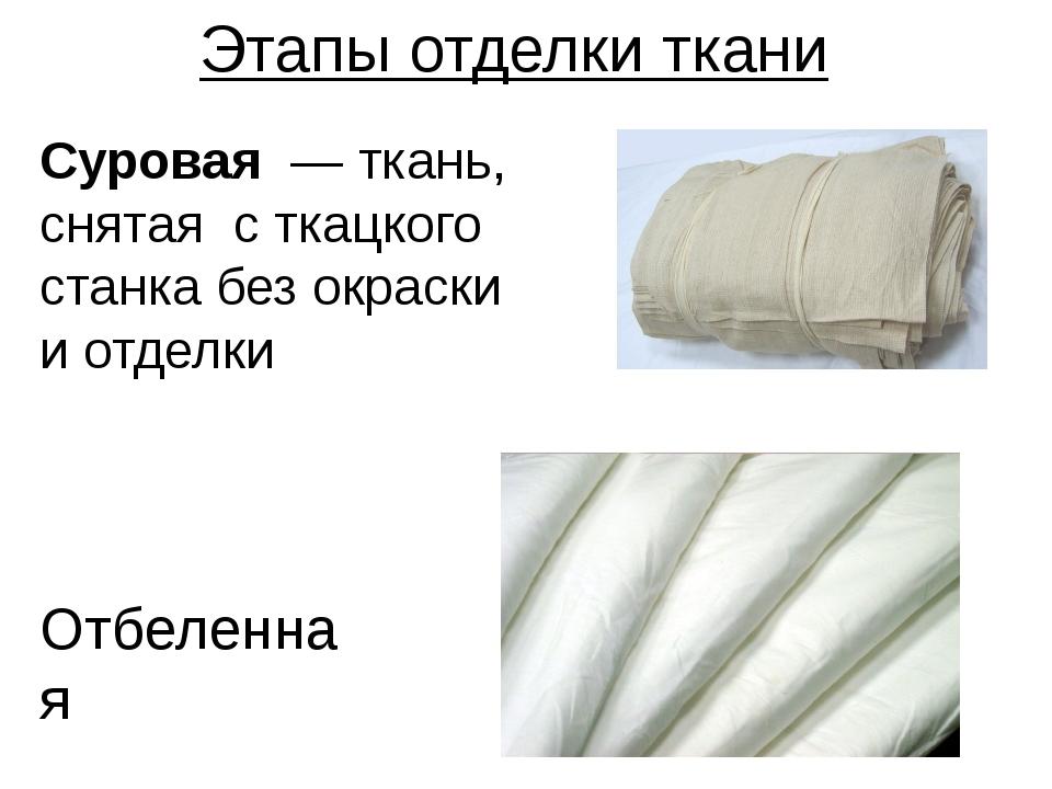 Этапы отделки ткани Отбеленная Суровая — ткань, снятая с ткацкого станка без...
