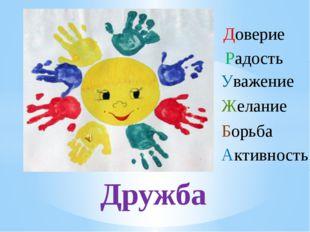 Доверие Радость Уважение Желание Борьба Активность Дружба