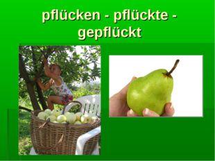 pflücken - pflückte - gepflückt
