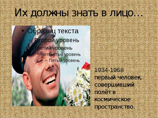 Их должны знать в лицо… Ю́рий Алексе́евич Гага́рин 1934-1968 первый человек,...