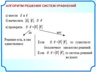 АЛГОРИТМ РЕШЕНИЯ СИСТЕМ УРАВНЕНИЙ «Поурочные разработки по геометрии: 11 кла