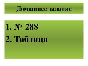 Домашнее задание № 288 Таблица