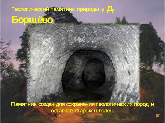 Геологический памятник природы у д. Борщёво Памятник создан для сохранения ге...