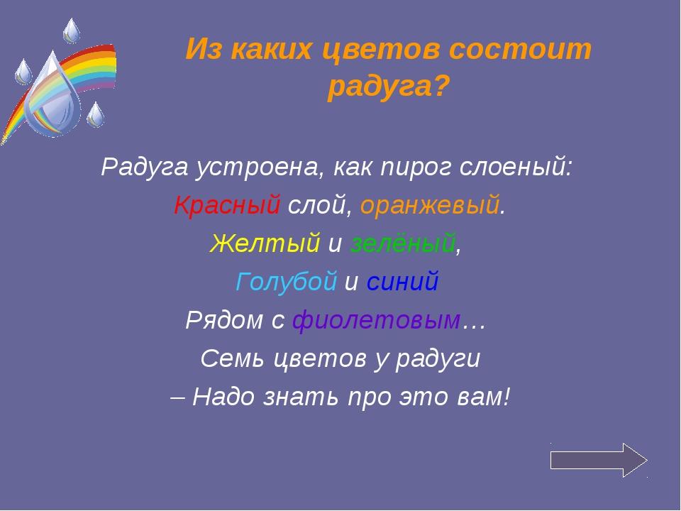 Из каких цветов состоит радуга? Радуга устроена, как пирог слоеный: Красный с...