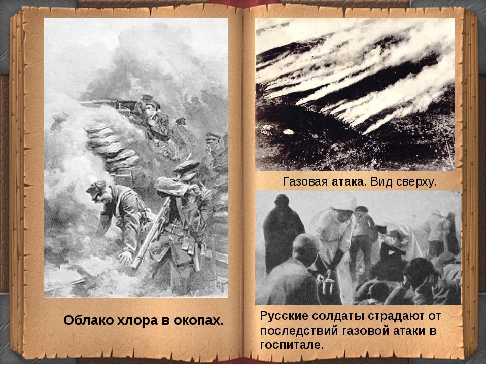 * Облако хлора в окопах. Газовая атака. Вид сверху. Русские солдаты страдают...