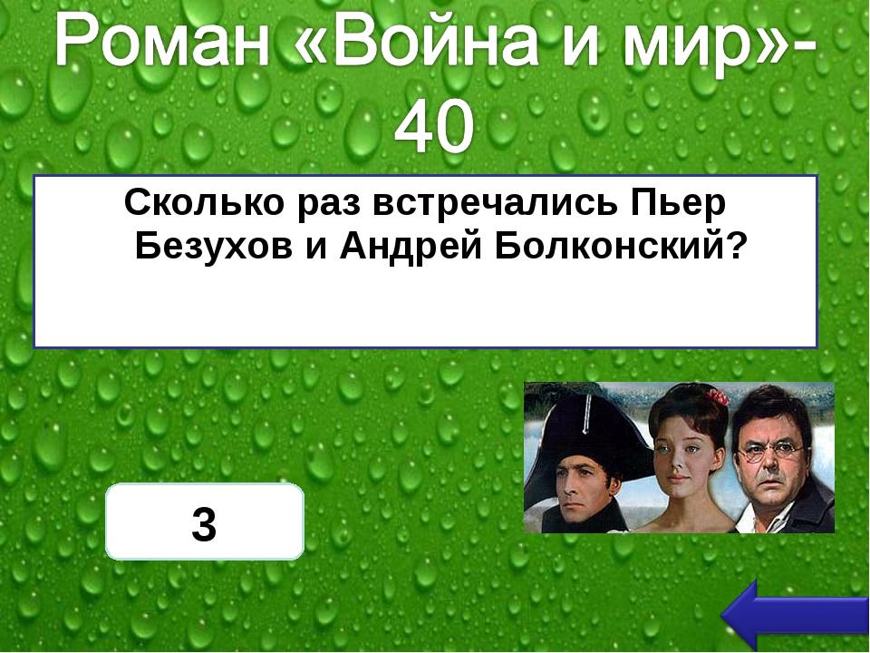 Сколько раз встречались Пьер Безухов и Андрей Болконский? 3