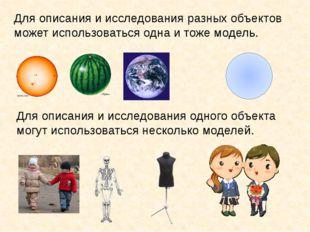 Для описания и исследования разных объектов может использоваться одна и тоже